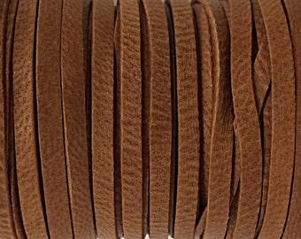 50 Feet 3mm Deer Skin Hide Lace Saddle Tan, Sienna, Tobacco Brown 1/8 Inch , Buckskin, Soft Deer Leather, Made in USA - DSK3-ST -50