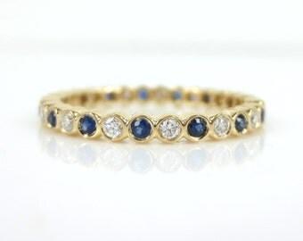 2.2mm Bezel Set Diamond & Sapphire Eternity Band in 18k Rose Gold - Stacking Rings