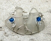Sea glass Earrings - Blue Crystals - Wire Wrapped Beach Glass - Recycled Jewelry - Wire Wrapped Jewelry Handmade - Montreal - Free Shipping