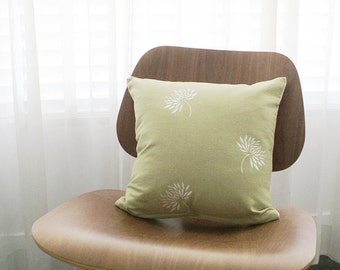 """16""""x16"""" Spring Green Embroidered Dandelion Throw Pillow Cover"""