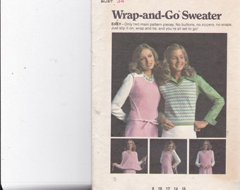 Butterick 6998 Vintage Pattern Womens Wrap-Around Sweater Size 12 (34 Bust) UNCUT
