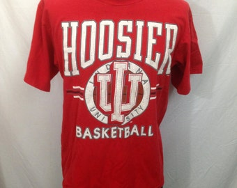 Vintage Indiana University Hoosier Basketball T-Shirt Size Large.B-Town.Bloomington, Indiana.Indiana Hoosiers.