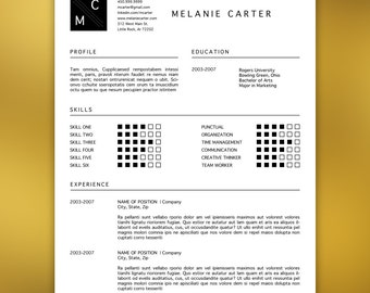 Professional Resume Template Editable in MS Word and Adobe Indesign | Icons, Black, Modern, Minimal | CARTER