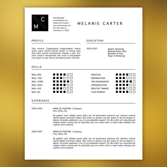 professional resume template editable in ms word and adobe
