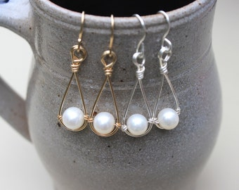 Pearl Drop Earrings, Pearl Dangle Earrings