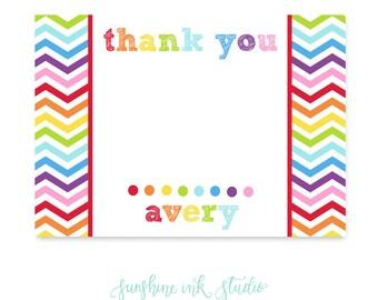 Rainbow Party Printable Thank You Card Rainbow Chevron Party