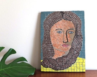 Vintage mosaic portrait - woman with sad eyes - 1970s