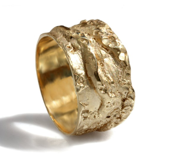 Rustic 14k solid yellow gold ring wide band man band