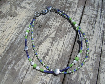 Purple, Green and White Beaded Anklet