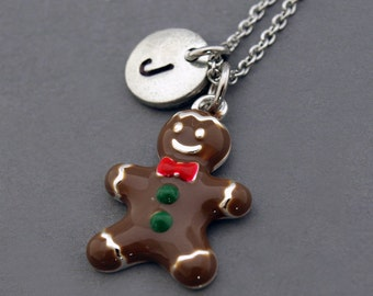 Gingerbread man necklace, Gingerbread cookie, Ginger bread man, initial necklace, initial hand stamped, personalized, monogram