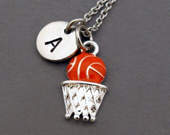 Basketball Hoop necklace, Basketball net, Backboard, sports charm necklace, initial necklace, personalized, antique silver, monogram