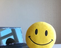 Smiley, Smiley face, Smiley face pillow, Smile pillow, emoticon, emoji, emoji pillow, classic smiley face, classic smiley, gift under 25