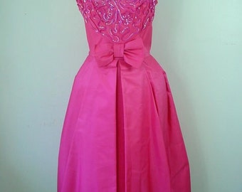 1950s Hot Pink Taffeta Party Dress with Sequined Bodice