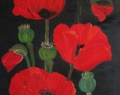 Flower painting,Poppies canvas,Unique signed,original canvas,gift ideas, 16x24in/40x60cm,home decor,spring ,free shipping,