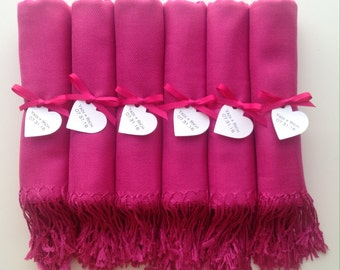 Hot Pink Shawls with Hot Pink Ribbon and Heart Favor Tags, Set of 6, Pashmina, Wedding Favor, Bridal Shower Gift, Bridesmaids Gift, Wraps