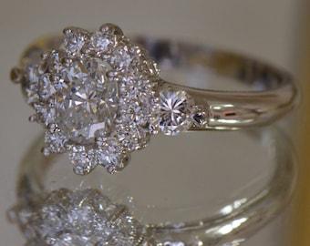 Flower-Shaped Art Deco-Inspired Diamond Ring (14K White Gold)