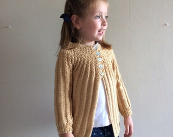 Beige Girl sweater, hand knitted, sizes 6 months to 5 years