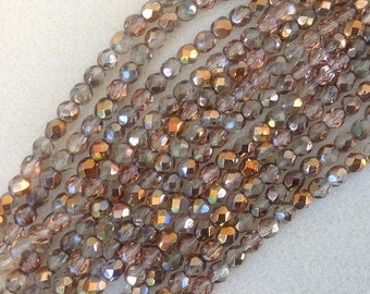 CRYSTAL COPPER faceted round fire polish 6mm Czech beads, 7 inch strands (approx 30 beads)