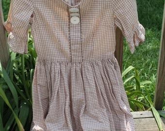 Vintage Handmade Girl's Gingham Dress
