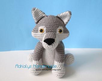 Crochet Realistic Grey Wolf- Stuffed Wolf- Wolf Plush- Woodland Animals- Forest Animals- Handmade Wolf- Crochet Toy- Made to Order