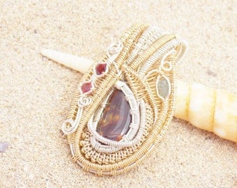 Fire Agate, Sapphire and Garnet Pendant, Two Tone Wire Wrap