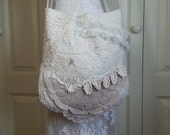 Lace Bag - Shabby Chic Vintage Lace Bag - Vintage Inspired Lace Purse - Beige and Cream Linens and Lace Bag