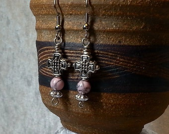 Boho Chic Gypsy Antique Silver Cross and Pink Howlite Earrings - Gypsy Earrings - Feminine Earrings