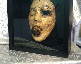 Plaster Cast Face Mask in Display Shadow Box
