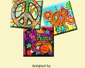 PEACE AND LOVE -  Digital Collage Sheet 1 inch square images for pendants, earrings, decoupage, scrapbooking etc. Instant Download #209.