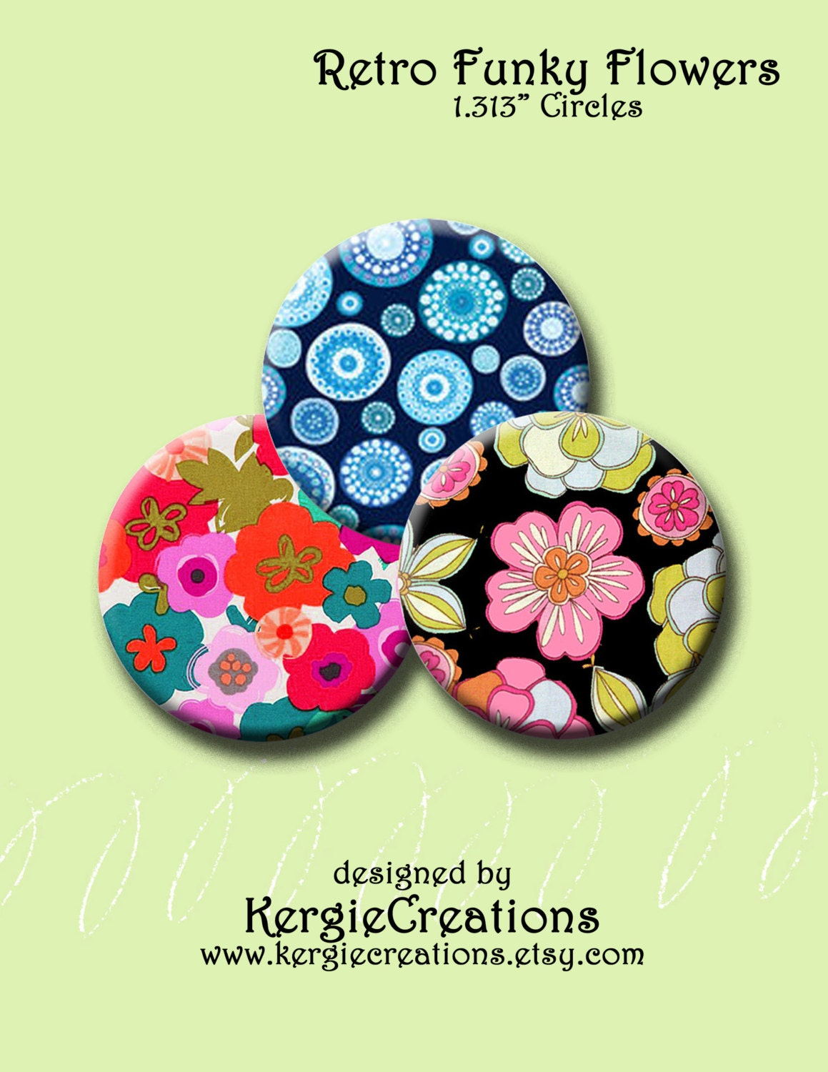 30 Funky And Trendy Nail Art Designs For 2014: RETRO FUNKY FLOWERS 30 X 1.313 Round Images For