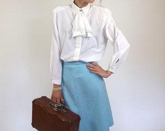 Blue vintage skirt, soviet midi skirt, women high waist 70s skirt. S/M