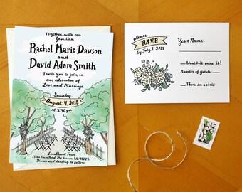 Love on Country Lane: Illustrated Rustic Tree Wedding Invitation Suite / Deposit