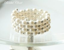 Bridal Bracelet, White Pearl Clear Crystal Bracelet, Multi Layer Cuff Bridal Pearl Bracelet, Wedding Bracelet, Bridal Accessory