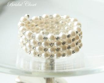 Bridal Bracelet, White Pearl Clear Crystal Bracelet, Multi Layer Cuff Bridal Pearl Bracelet, Wedding Bracelet, Bridal Accessory