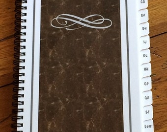 PASSWORD Internet Address Book Journal with A-Z Tabs (Brown) Personalized Gift
