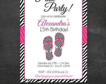 Pool Party, Flip Flop Invite - Custom Printable Birthday Party Invite, Invitation - Zebra Print - Pink - Tween Birthday, Teen Birthday