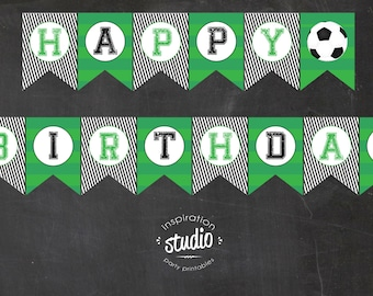 Soccer Printable Happy Birthday Flag Pennant Banner -  Instant Download