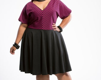 ON SALE Plus Size Dress, Womens Stripe Dress, Ponte Knit Plus Size Dress, Stripe Dress, Knit Dress, Pink Dress
