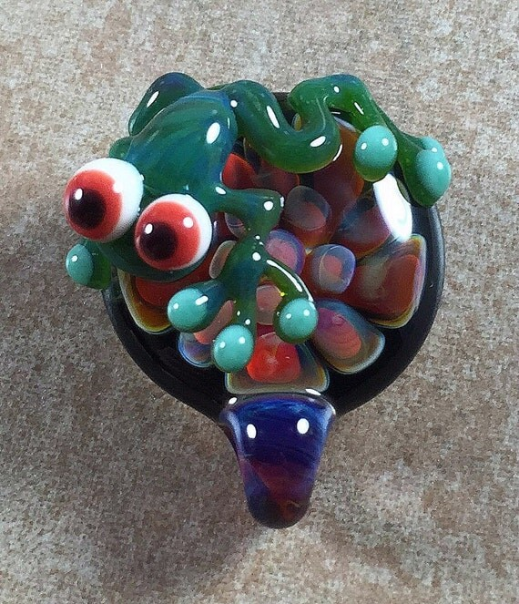 frog and flower necklace glass pendant handmade custom