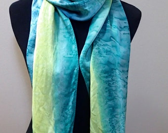 Hand painted silk scarf in blue, green & yellow