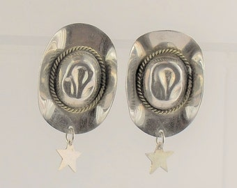 Cowboy Hat earrings - sterling silver