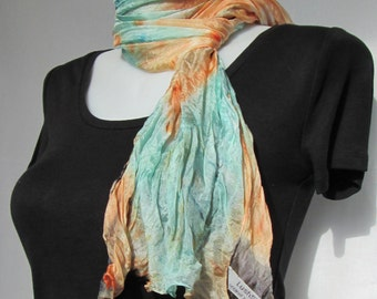 Silk scarf long crinkle hand painted - tie-dye peach pale mint green and black