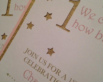 Pink and Gold Birthday Invitations, Twinkle Twinkle Invitations, Pink 1st Birthday Invitations, Pink and Gold Invites