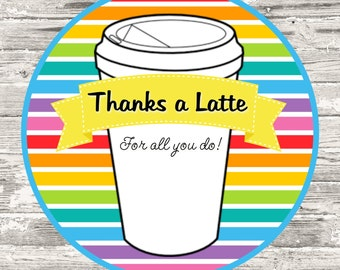 Instant Download Thanks A Latte Teacher Appreciation Cupcake Topper Tag Printable Digital