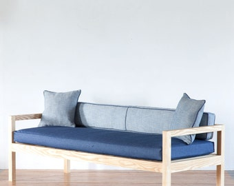 Modern Couch in Ash  |  Solid Construction  | Sofa