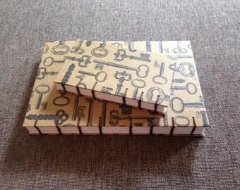 Vintage Key Print Blank Coptic Stitch Journal 2-Piece Set