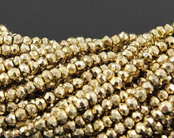 Golden Pyrite Rondelle Faceted 6 mm