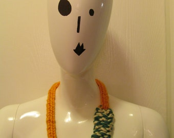Green, Gold, and Cream Knit Necklace