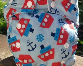 Tug Boats & Anchors Cloth Diaper