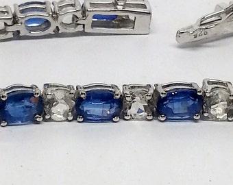 17.11ctw Kyanite And White Topaz Sterling Silver Bracelet 7 inch
